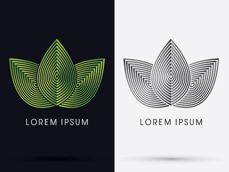 Luxury 3 Leafs designed using green linelogo symbol icon graphic vector. Illustration
