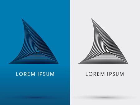 logo poisson: Nageoire de requin conçu en utilisant la forme ligne de triangle ressembler l'architecture logo symbole icône vecteur graphique moderne. Illustration