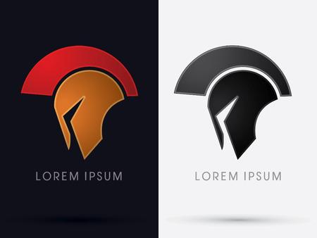casco rojo: Romano o griego Casco Spartan cabeza del casco icónico logo protección guerrero soldado símbolo gráfico vectorial. Vectores
