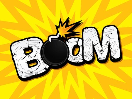 fire font: Boom text typography word font Bomb fire ready to boom icon graphic vector.