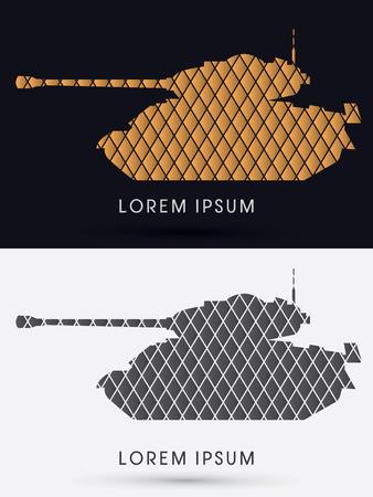 Tank silhouette designed using gold and black geometric logo symbol icon graphic vector.
