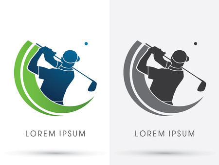 Man swingende golf Golf spelers Club logo symbool pictogram grafische vector. Stock Illustratie