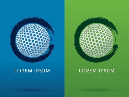 Golfbal op grunge brush achtergrond logo symbool pictogram grafische vector.