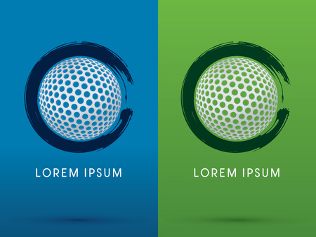 Golf ball on grunge brush background logo symbol icon graphic vector.