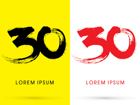 30 Chinese brush grunge font designed using black and red brush handwriting logo symbol icon graphic vector.