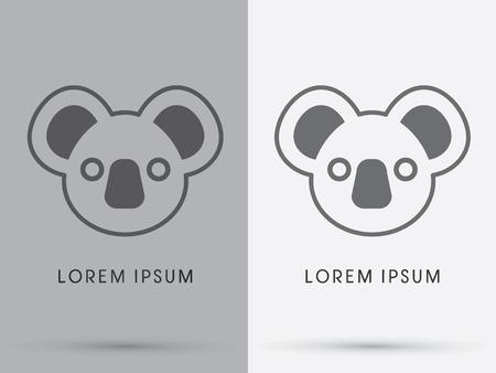 Cute koala bear face designed using out line cartoon logo symbol icon graphic vector. Vector
