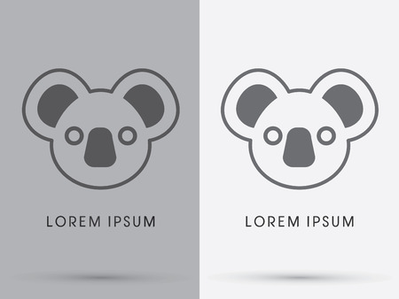Cute koala bear face designed using out line cartoon logo symbol icon graphic vector. Illustration