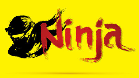 Ninja font text designed using grunge brush graphic vector