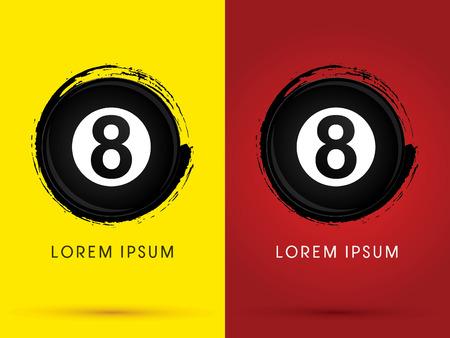 Number 8 Billiards ballsnooker designed using grunge brush  logo symbol icon graphic vector.