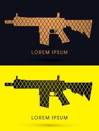 bb gun: Luxury Gun designed using gold and black geometric cycle  logo symbol icon graphic vector. Illustration