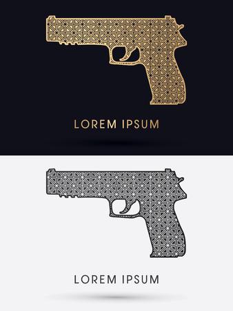 bb gun: Luxury Gun designed using gold and black geometric cycle  logo symbol icon graphic vector. Illustration