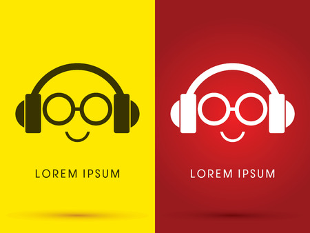 Headphone with eyes glasses sound  face smile logo symbol icon graphic vector .