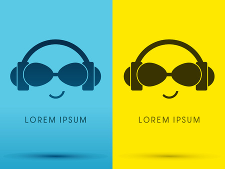 Headphone with eyes glasses sound  face smile logo symbol icon graphic vector . Vector