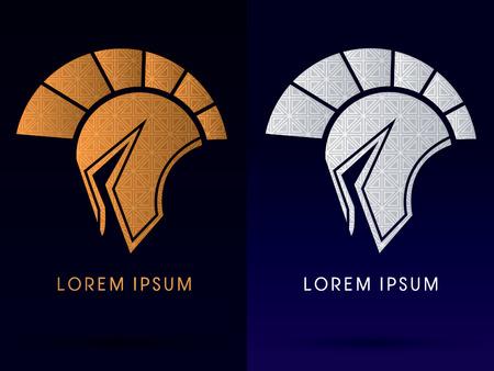 head protection: Luxury Roman or Greek Helmet  Spartan Helmet Head protection warriorsoldier logo symbol icon graphic vector. Illustration