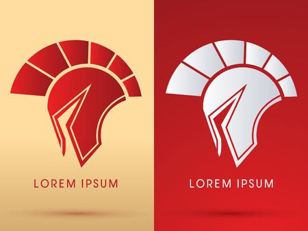casco rojo: Romano o griego Casco Spartan cabeza del casco icónico logo protección warriorsoldier símbolo gráfico vectorial.