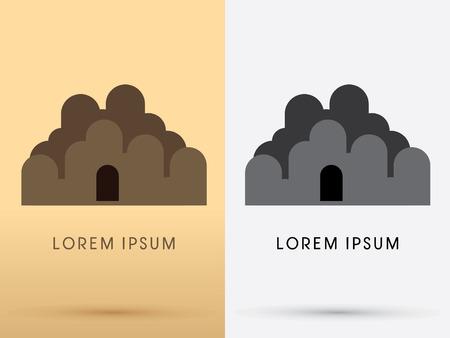 peinture rupestre: Résumé grotte de pierre conçu en utilisant brun géométrique logo de dessin animé forme icône vecteur symbole graphique. Illustration