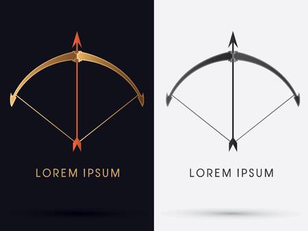 Arco y Flecha Lujo logo símbolo del icono gráfico vectorial.