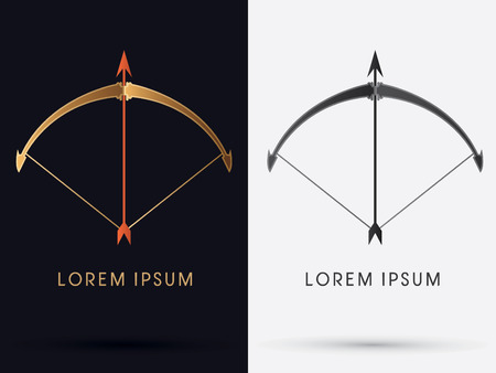 focus on shadow: Luxury Bow and Arrow logo symbol icon graphic vector. Illustration