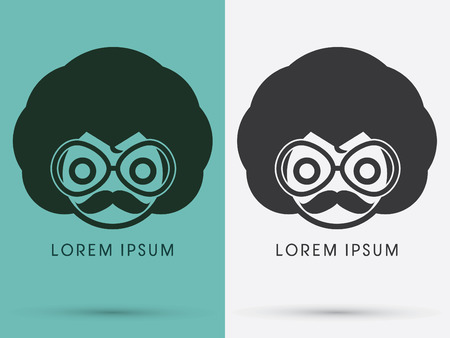 african business: Cute Afro head with mustache and glasses  logo symbol icon graphic vector . Illustration