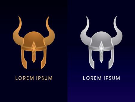 vikingo: El oro y la plata de Viking logo de dibujos animados casco del icono del símbolo gráfico vectorial. Vectores