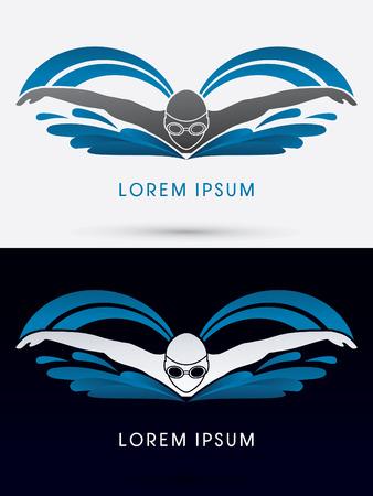 silhouette papillon: Piscine papillon avec de l'eau d'onde Piscine logo symbole vecteur icône graphique.