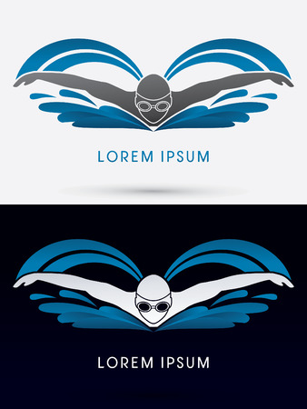 swimming goggles: Swimming Butterfly with wave water Swimming pool logo symbol icon graphic vector.