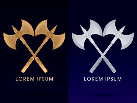 vikingo: Oro y plata de Viking logo gemelos hacha icono del símbolo gráfico vectorial.