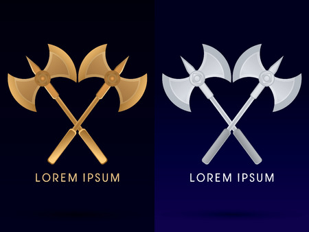 Gold and silver Viking twins axe  logo symbol icon graphic vector. Illustration
