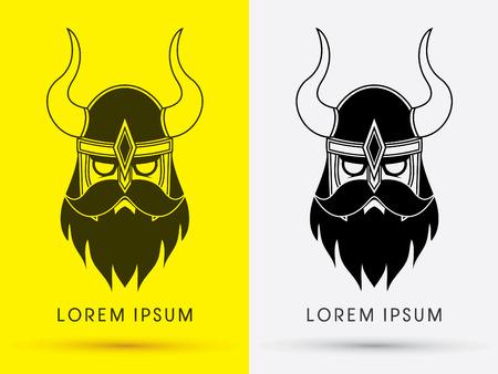 Viking head with helmet outline cartoon logo symbol icon graphic vector. Vector