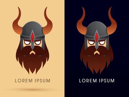 Viking head with helmet cartoon logo symbol icon graphic vector. Vector