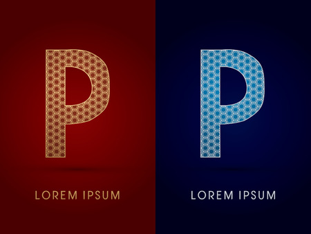 p buildings: P Luxury font designed using gold and silver geometric on dark red and dark blue background concept shape from screws hexagon honeycomb jewelry gems logo symbol icon graphic vector.