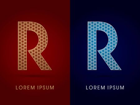 R Luxury font designed using gold and silver geometric on dark red and dark blue background concept shape from screws hexagon honeycomb jewelry gems logo symbol icon graphic vector. Ilustração