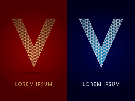 v shape: V Luxury font designed using gold and silver geometric on dark red and dark blue background concept shape from screws hexagon honeycomb jewelry gems logo symbol icon graphic vector. Illustration