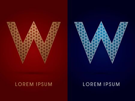 W Luxury font designed using gold and silver geometric on dark red and dark blue background concept shape from screws hexagon honeycomb jewelry gems logo symbol icon graphic vector. Vector