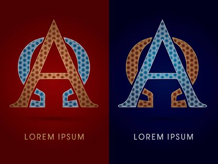 alpha: Alpha and Omega Luxury font designed using gold and silver geometric on dark red and dark blue background concept shape from screws hexagon honeycomb jewelry gems logo symbol icon graphic vector. Illustration
