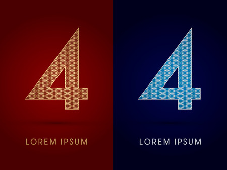 4 Number Luxury fontdesigned using gold and silver geometric on dark red and dark blue background concept shape from screws hexagon honeycomb jewelry gems logo symbol icon graphic vector. Vector