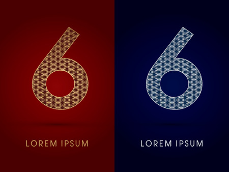6 Number Luxury fontdesigned using gold and silver geometric on dark red and dark blue background concept shape from screws hexagon honeycomb jewelry gems logo symbol icon graphic vector. Illustration