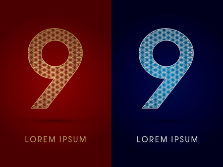 9 Number Luxury fontdesigned using gold and silver geometric on dark red and dark blue background concept shape from screws hexagon honeycomb jewelry gems logo symbol icon graphic vector. Vector