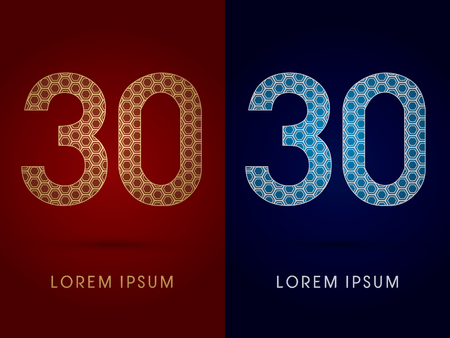 30 Number Luxury fontdesigned using gold and silver geometric on dark red and dark blue background concept shape from screws hexagon honeycomb jewelry gems logo symbol icon graphic vector. Vector