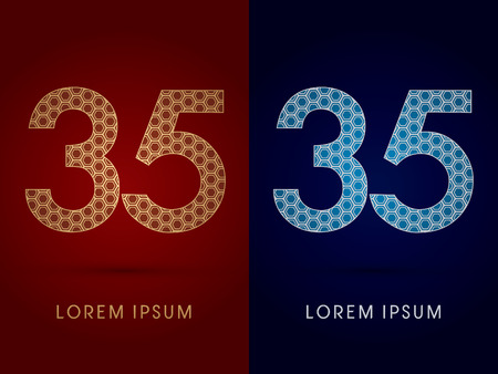 35 Number Luxury fontdesigned using gold and silver geometric on dark red and dark blue background concept shape from screws hexagon honeycomb jewelry gems logo symbol icon graphic vector. Vector