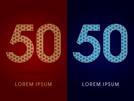 50 Number Luxury fontdesigned using gold and silver geometric on dark red and dark blue background concept shape from screws hexagon honeycomb jewelry gems logo symbol icon graphic vector. Vector