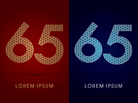 65 Number Luxury fontdesigned using gold and silver geometric on dark red and dark blue background concept shape from screws hexagon honeycomb jewelry gems logo symbol icon graphic vector. Vector