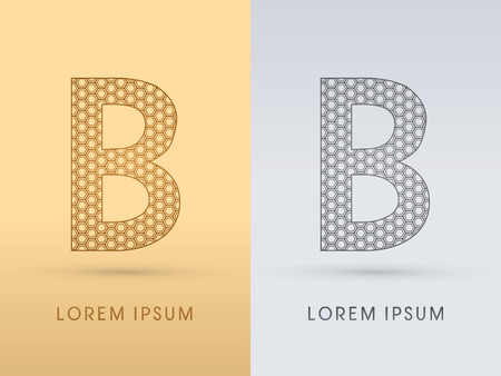 b cell: B Luxury  outline font designed using geometric on gold background concept shape from screws hexagon honeycomb jewelry gems  logo symbol icon graphic vector. Illustration