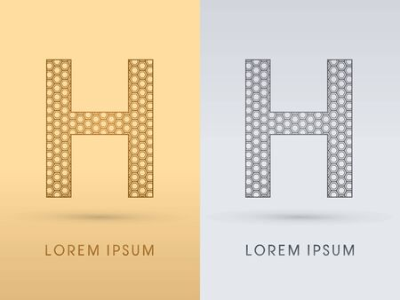7568de0b H Luxury outline font designed using geometric on gold background concept  shape from screws hexagon honeycomb