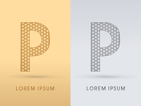 p buildings: P Luxury  outline font designed using geometric on gold background concept shape from screws hexagon honeycomb jewelry gems  logo symbol icon graphic vector.