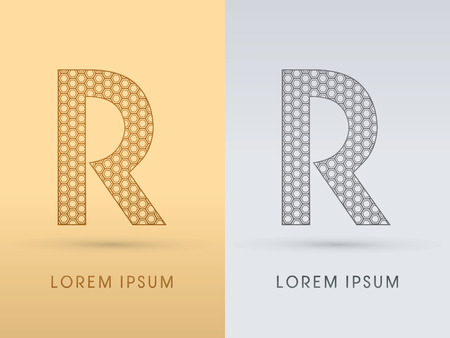 R Luxury  outline font designed using geometric on gold background concept shape from screws hexagon honeycomb jewelry gems  logo symbol icon graphic vector.