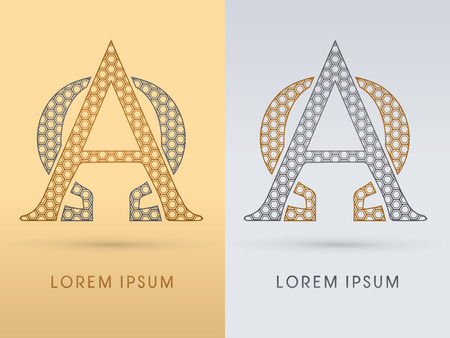 alpha: Alpha and omega Luxury  outline font designed using geometric on gold background concept shape from screws hexagon honeycomb jewelry gems  logo symbol icon graphic vector.