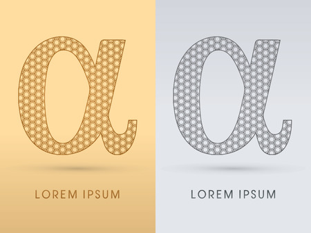 alpha: Alpha  Luxury  outline font designed using geometric on gold background concept shape from screws hexagon honeycomb jewelry gems  logo symbol icon graphic vector. Illustration