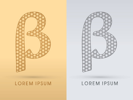 beta cells: Beta Luxury  outline font designed using geometric on gold background concept shape from screws hexagon honeycomb jewelry gems  logo symbol icon graphic vector.