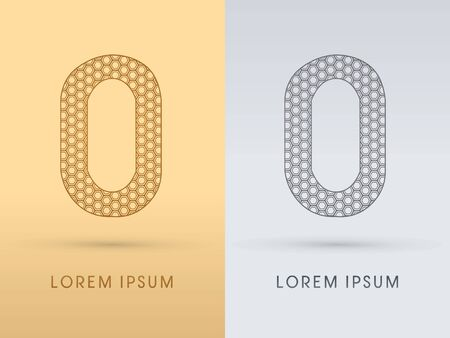 0 Number Luxury font outline designed using gold geometric on gold background concept shape from screws hexagon honeycomb jewelry gems logo symbol icon graphic vector. Vector